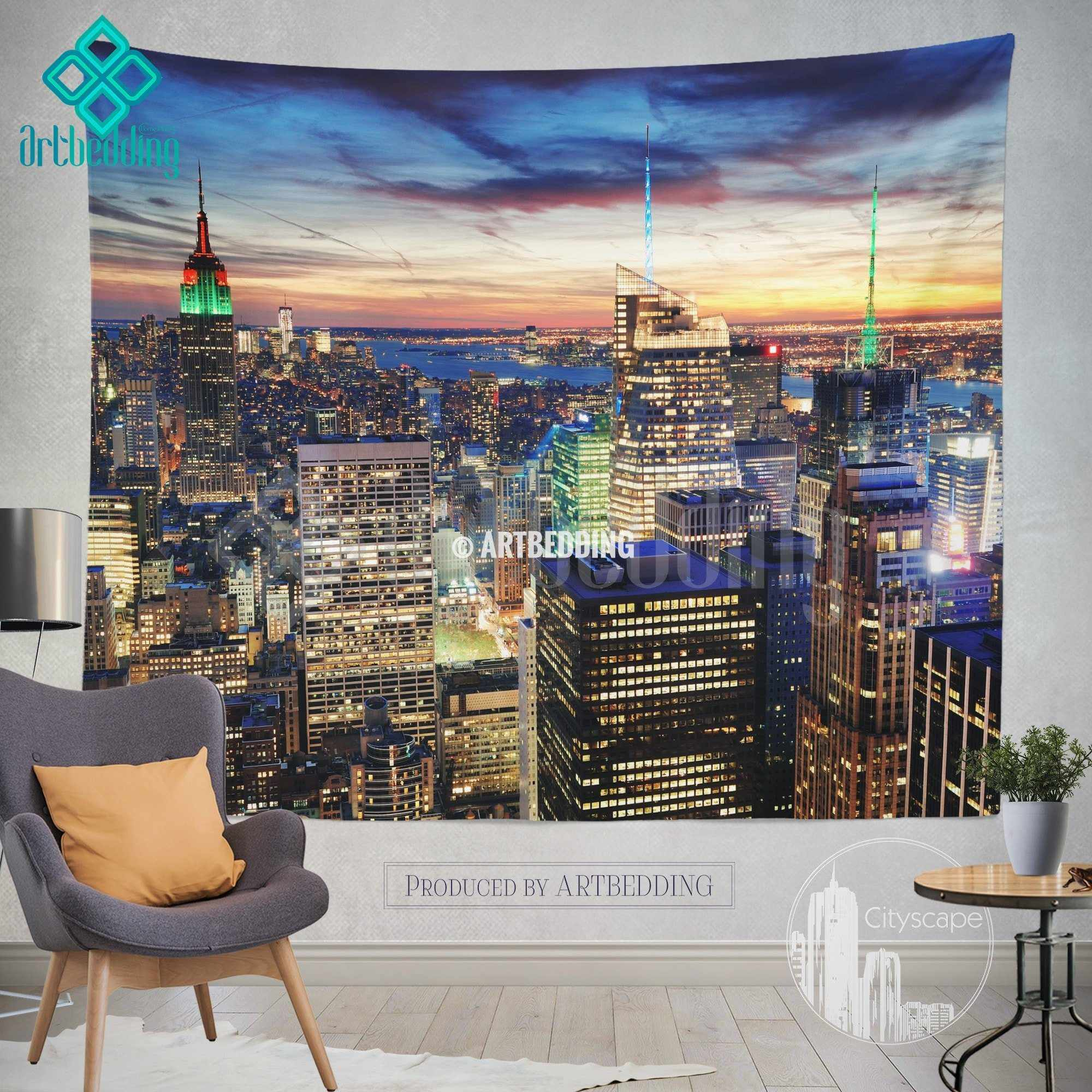 New York Panoramic Cityscape Wall Tapestry New York At