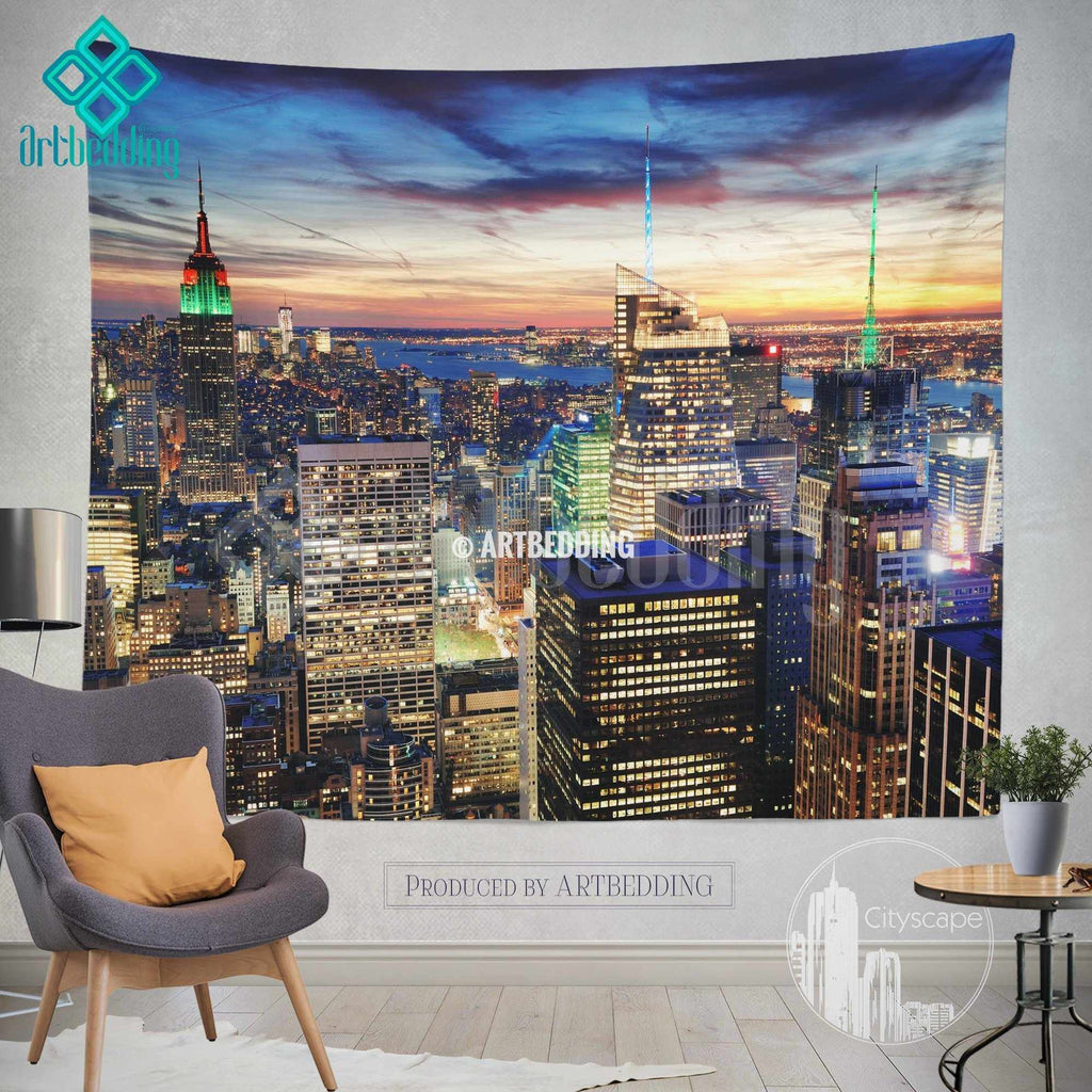 New York panoramic cityscape wall tapestry, New York at sunset cityscape wall decor, New York artbedding cityscape wall decor