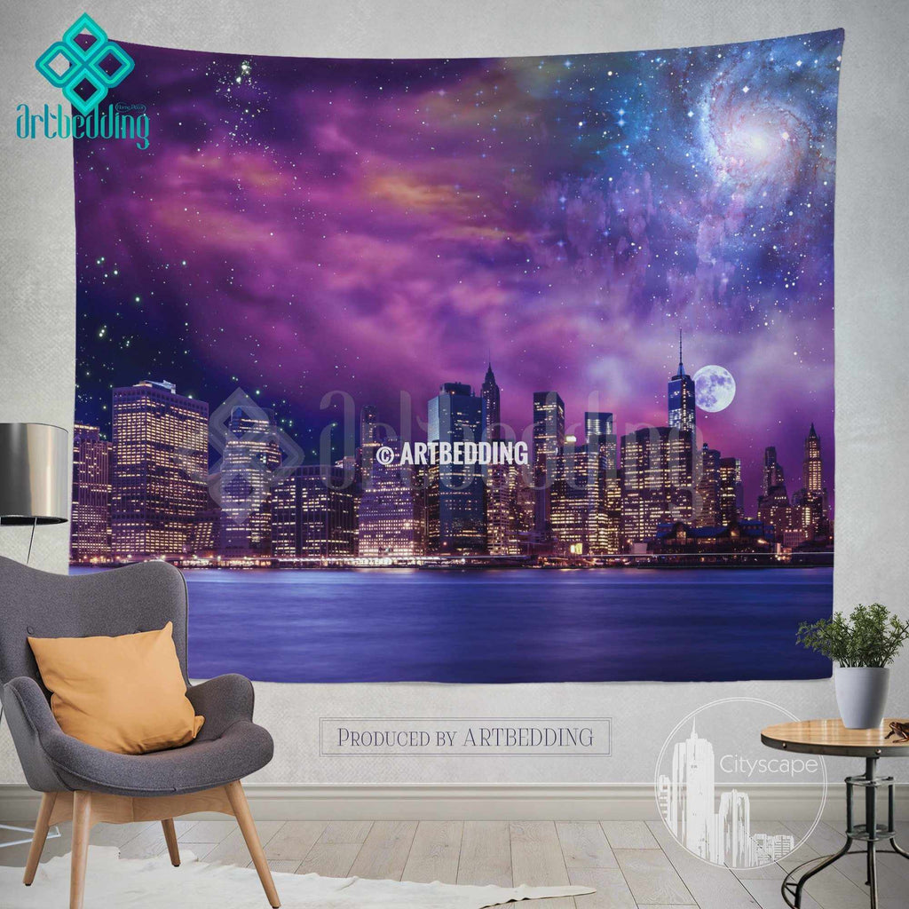 New York wall tapestry, Brooklyn at night wall tapestry, New York cityscape wall decor, Brooklyn lights wall interior, artbedding New York cityscape wall decor