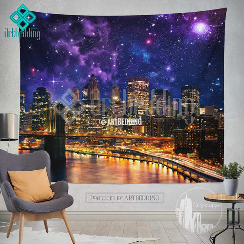 New York wall tapestry, Brooklyn Bridge at night wall tapestry, New York cityscape wall decor, New York lights wall interior, artbedding New York cityscape wall decor