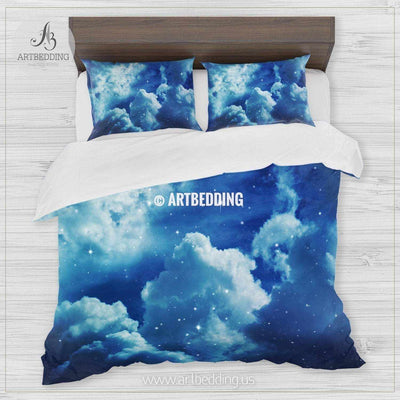 Night cloudy sky with stars bedding, Queen / King / Full / TWIN stars Galaxy Duvet Cover, Cotton sateen bedding set, Skies bedding Bedding set