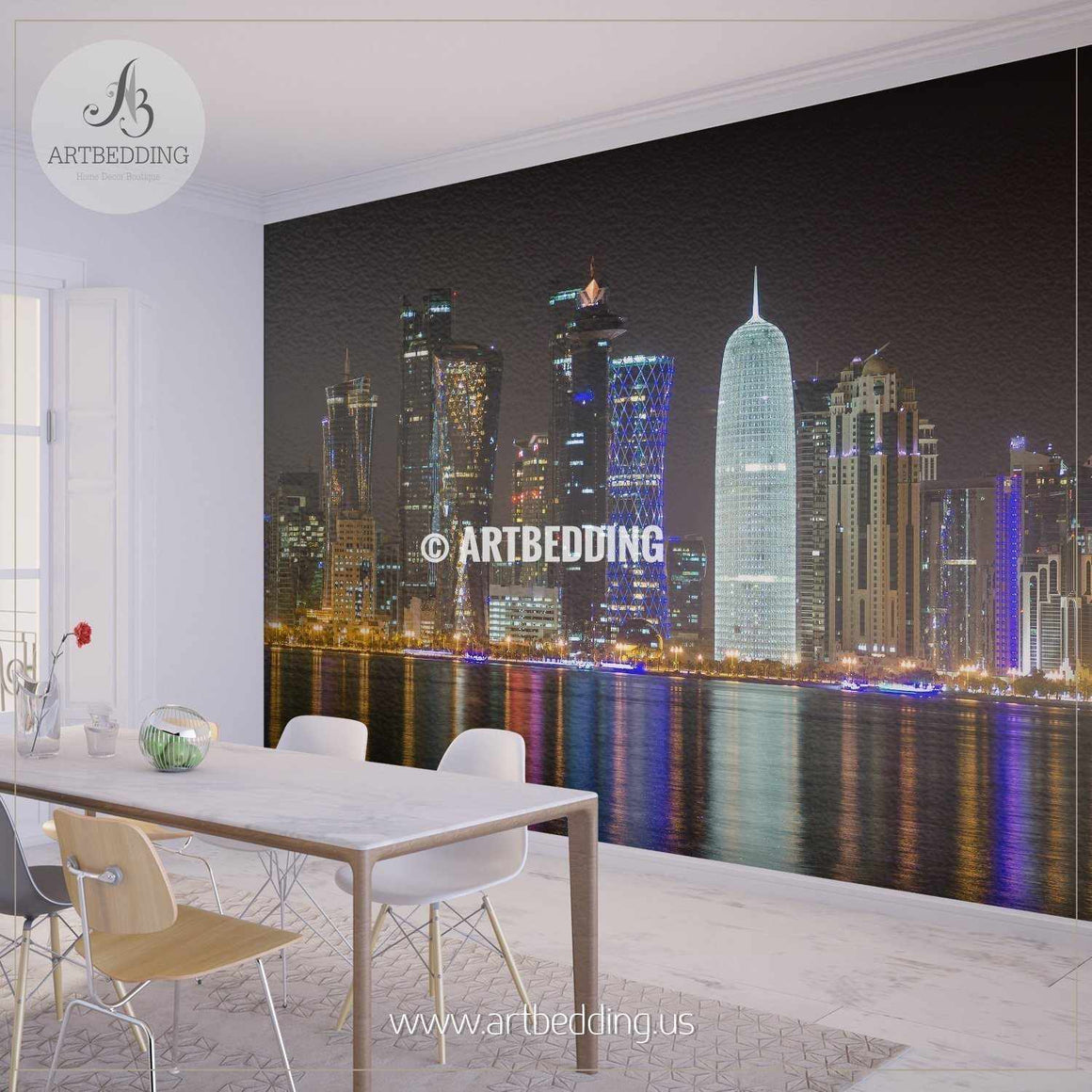 Night scene of Doha in Qatar Wall Mural, Qatar Photo Mural, Qatar wall décor wall mural
