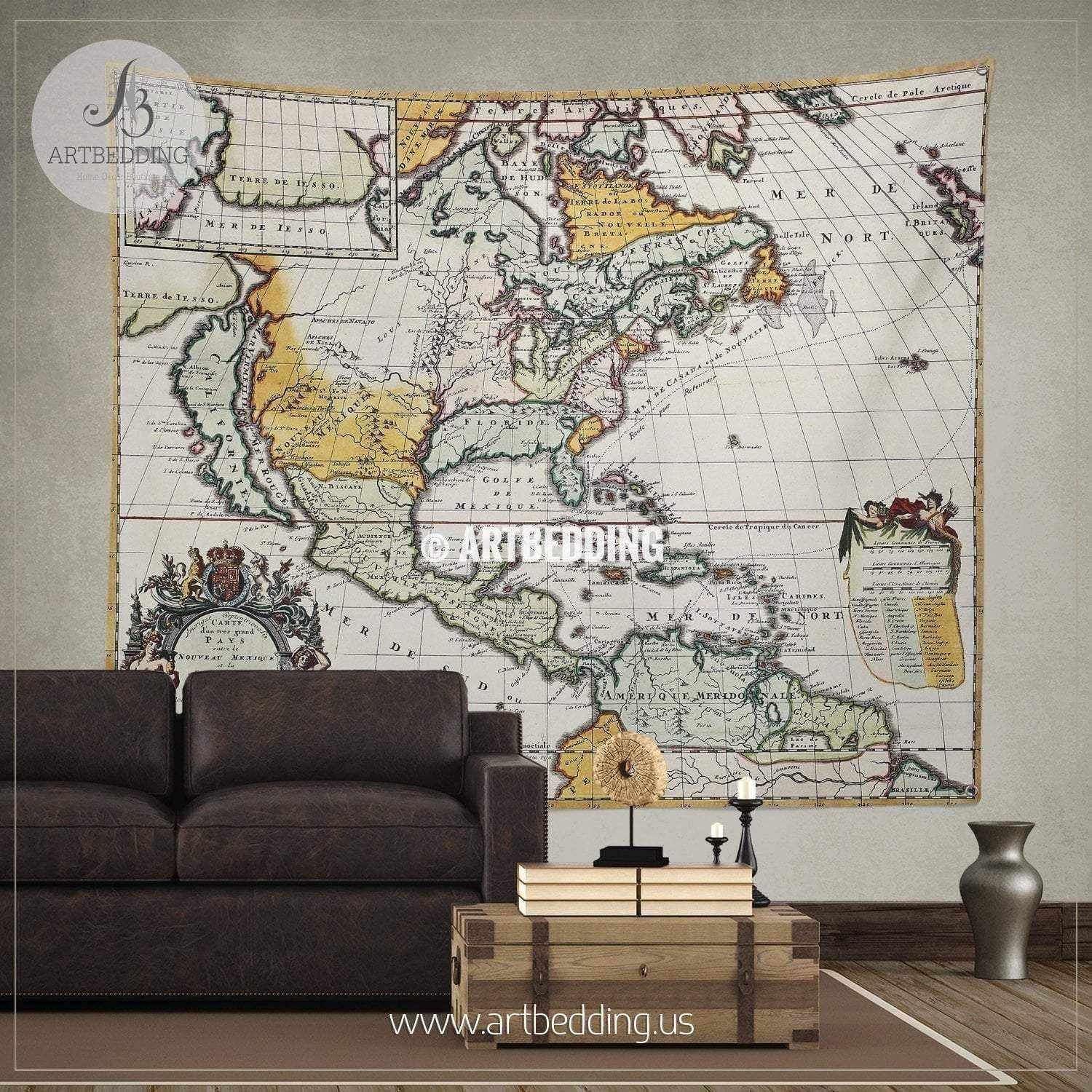 ... North America 1698 vintage map wall tapestry, vintage interior world  map wall hanging, old ...