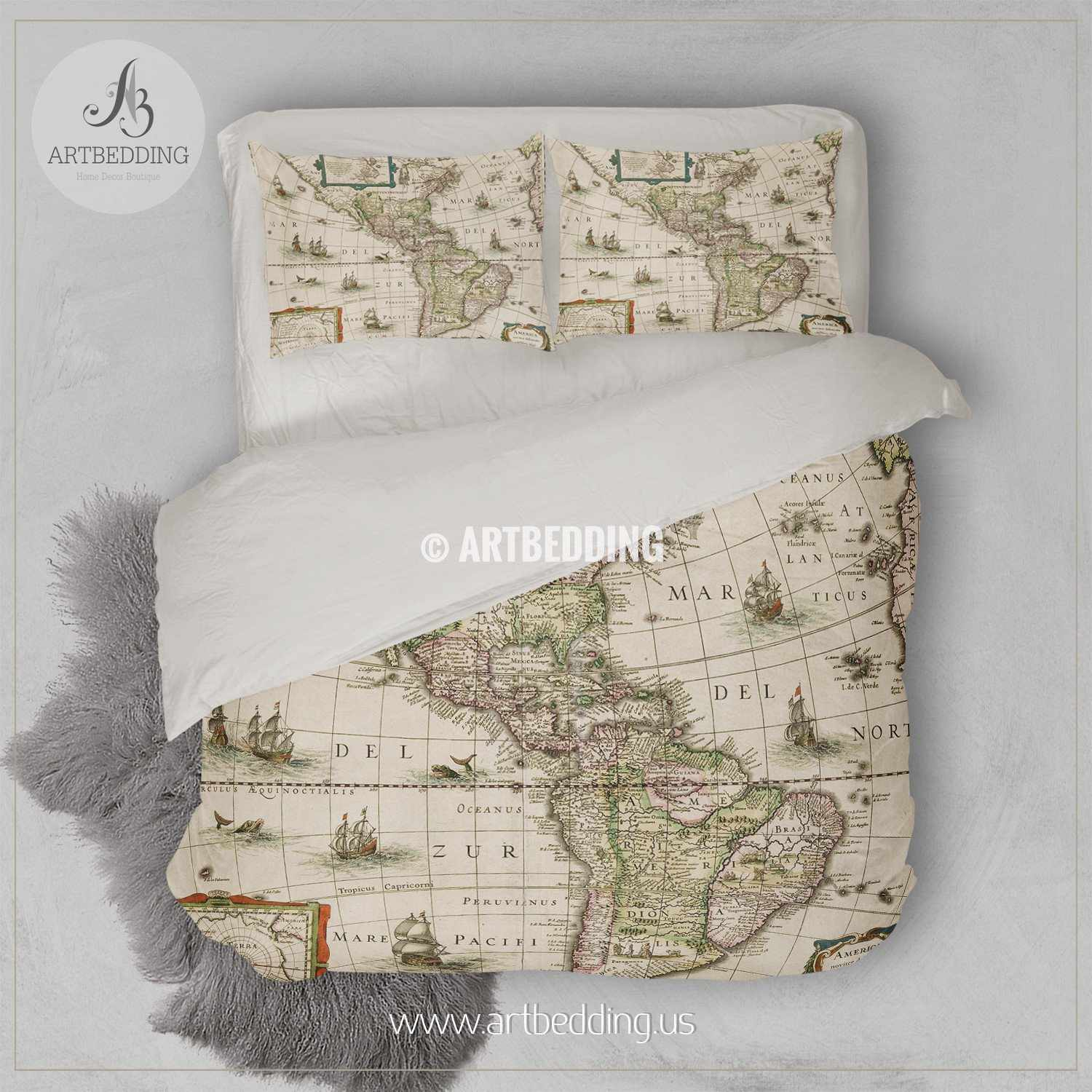 North and South America vintage map bedding, America old map duvet cover  set, Antique America map comforter set