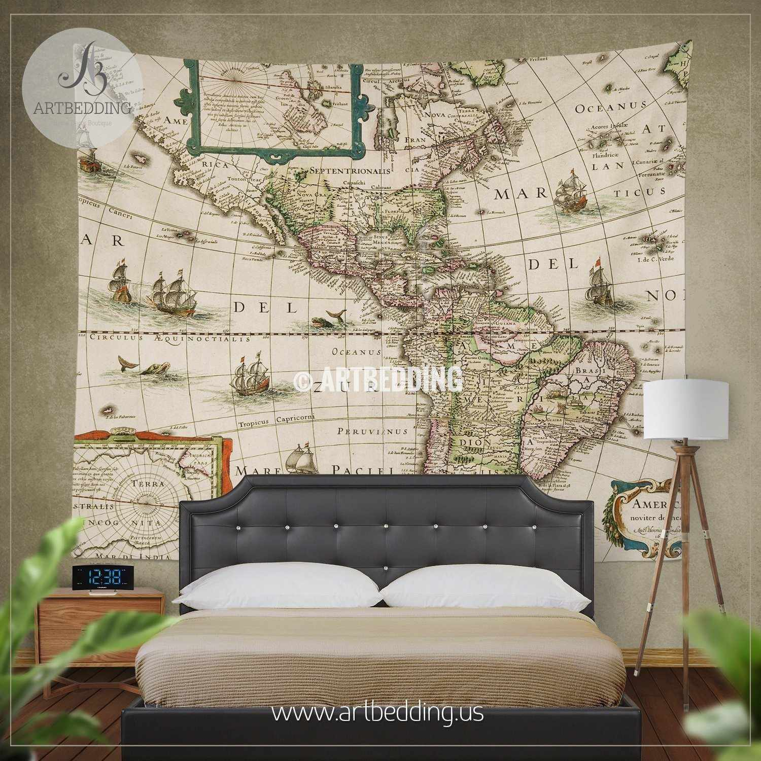 America old map bedding vintage old world map duvet cover set north and south america vintage map bedding america old map duvet cover set antique gumiabroncs Gallery