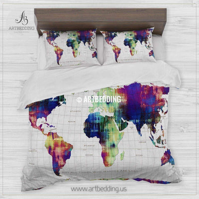 Not all those who wander are lost map bedding, Watercolor map duvet cover set, Modern wanderlust map comforter set Bedding set