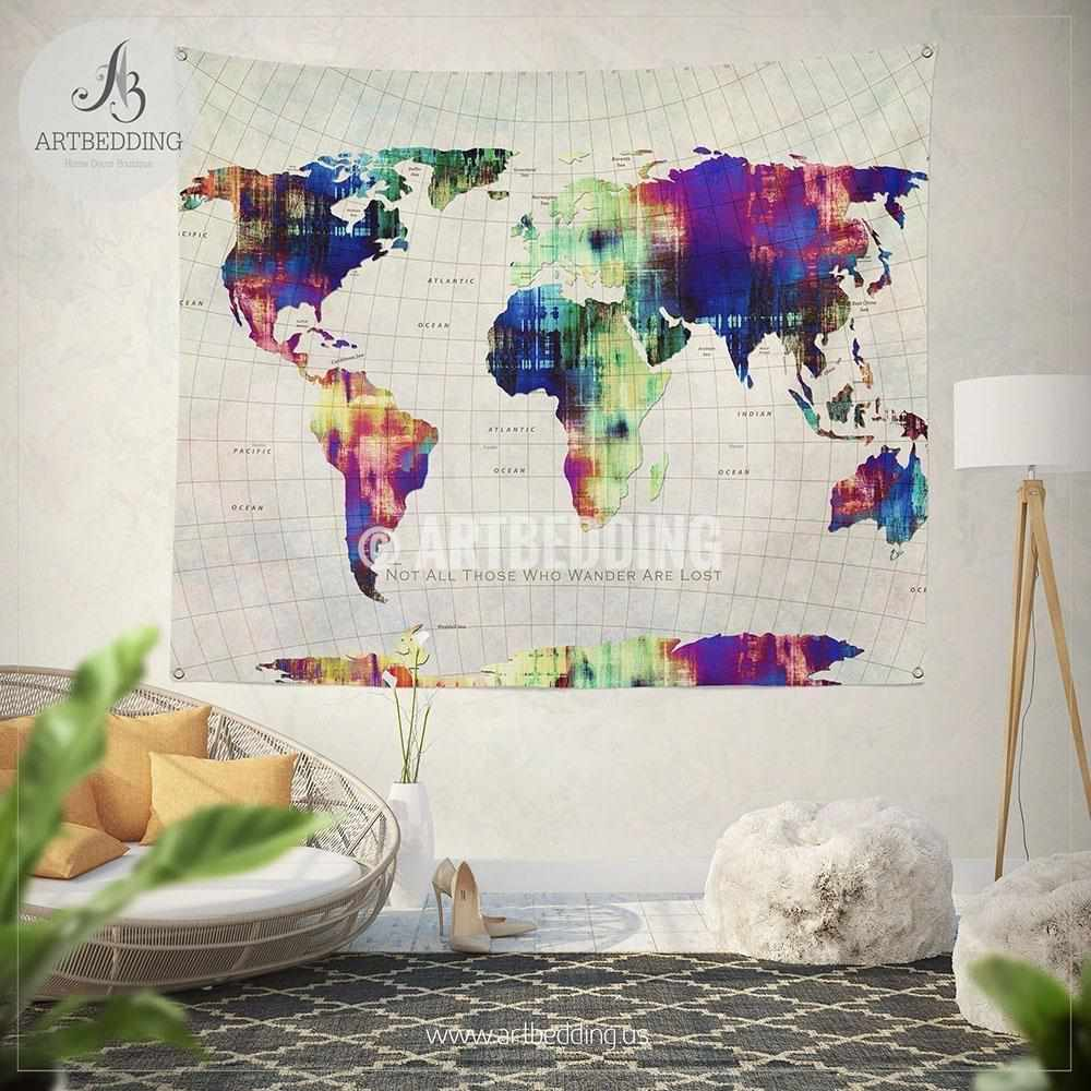 Not all those who wander are lost map wall Tapestry, World map grunge wanderlust wall hanging, Grunge pop art world map wall tapestries, bohemian wall decor Tapestry