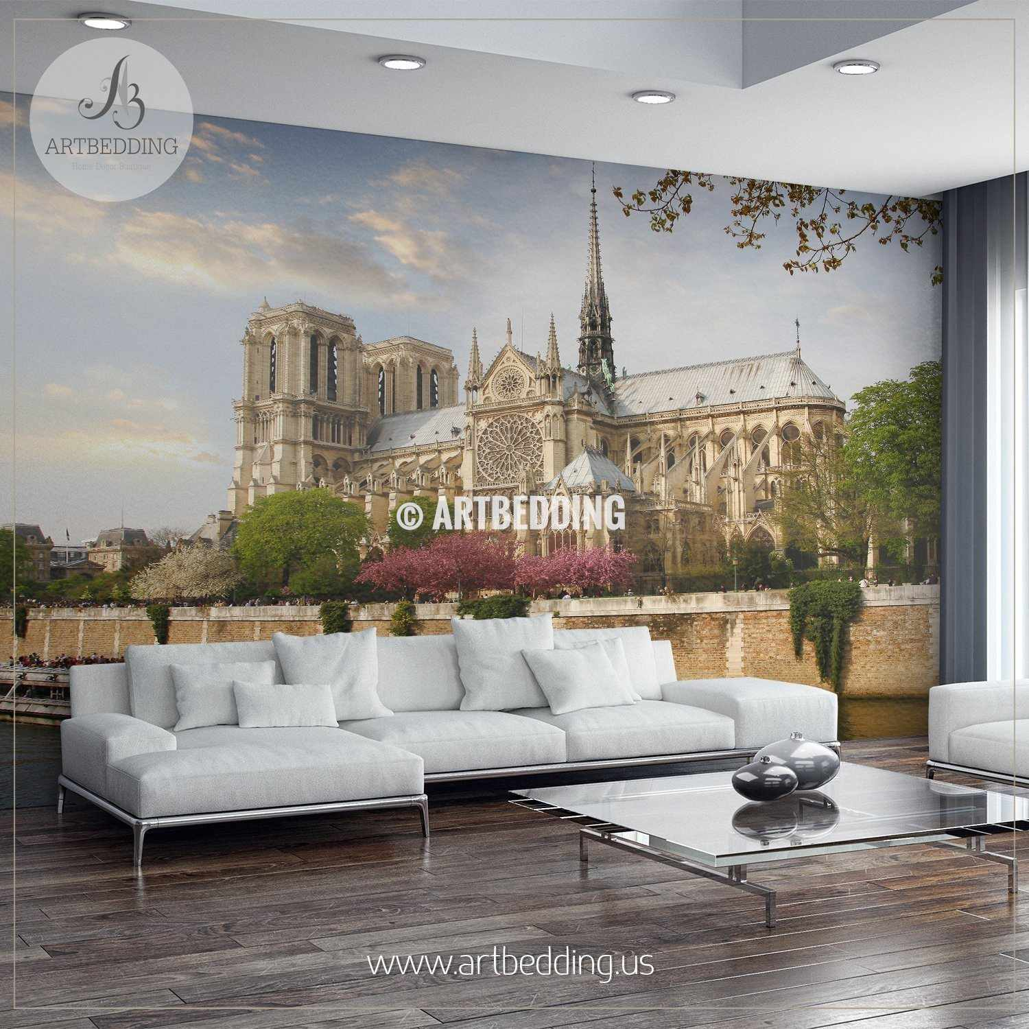 Notre Dame With Boat On Seine, France Wall Mural, Photo Mural, Wall Décor  ...