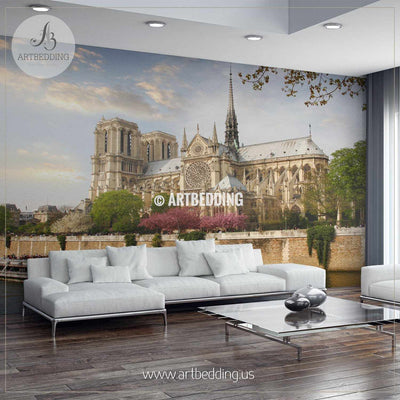 Notre Dame with boat on Seine, France Wall Mural, Photo Mural, wall décor wall mural