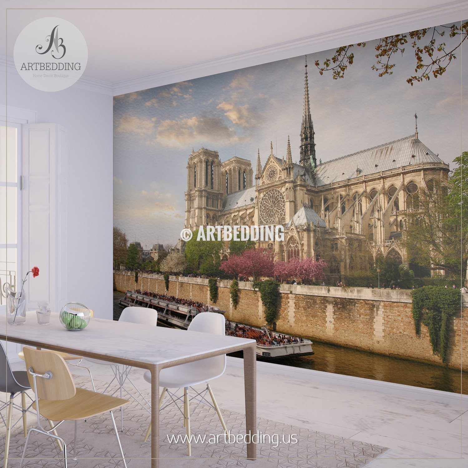 ... Notre Dame With Boat On Seine, France Wall Mural, Photo Mural, Wall  Décor ...