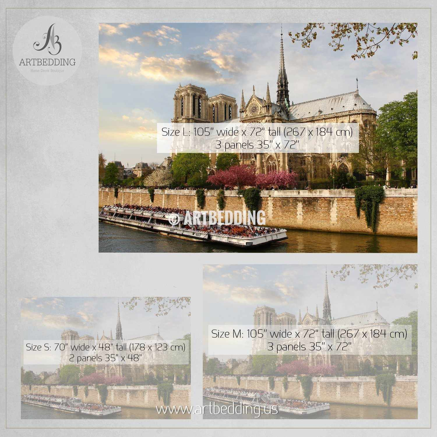 Notre Dame with boat on Seine wall mural France Wall Mural Paris