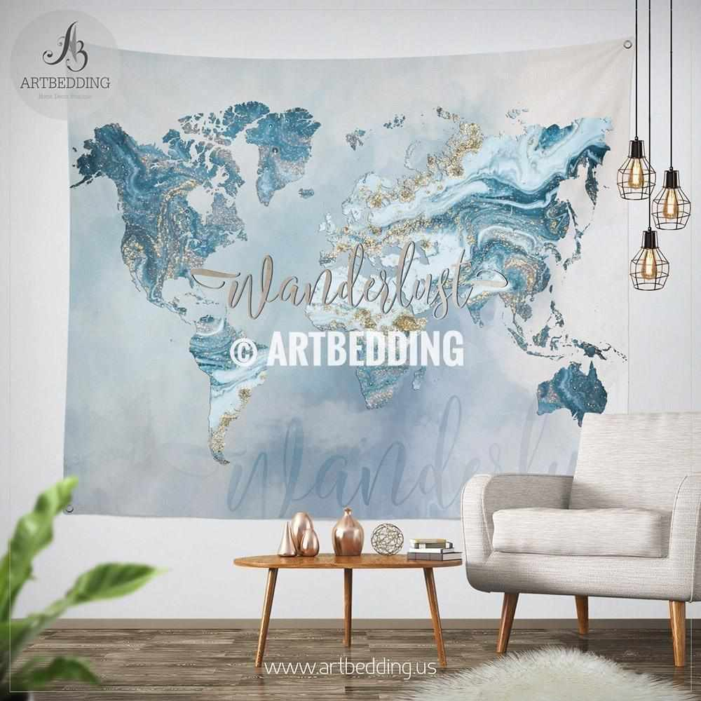 Ocean blue and gold wanderlust world map wall tapestry boho summer ocean blue and gold wanderlust world map wall tapestry boho summer vibes marble world map gumiabroncs Image collections
