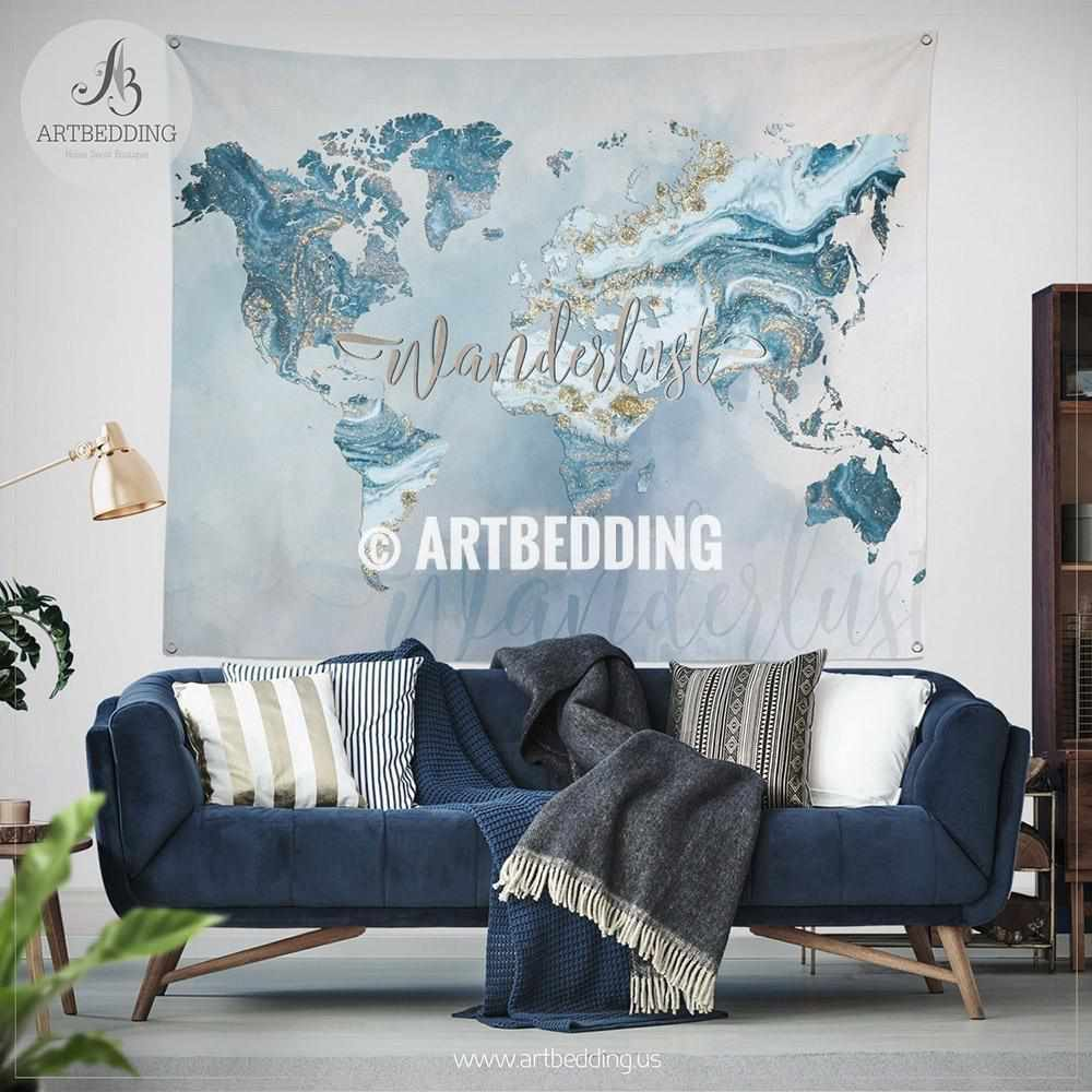 Ocean blue and gold Wanderlust world map wall Tapestry, Boho summer vibes marble  world map wall hanging, bohemian wall tapestries, boho wall decor Tapestry
