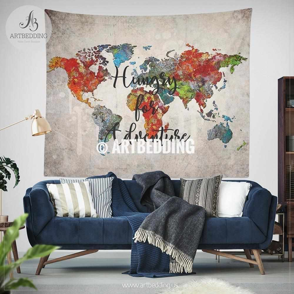 Oil painting world map wall Tapestry, Abstract Adventure world map wall hanging, bohemian travel wall tapestries, boho wall decor Tapestry