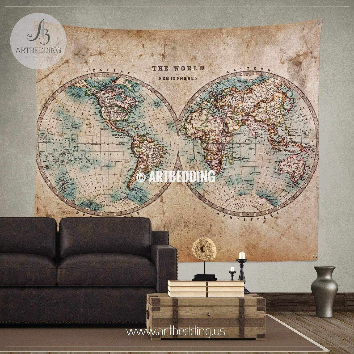 Vintage world map wall tapestry, vintage interior world map wall ...
