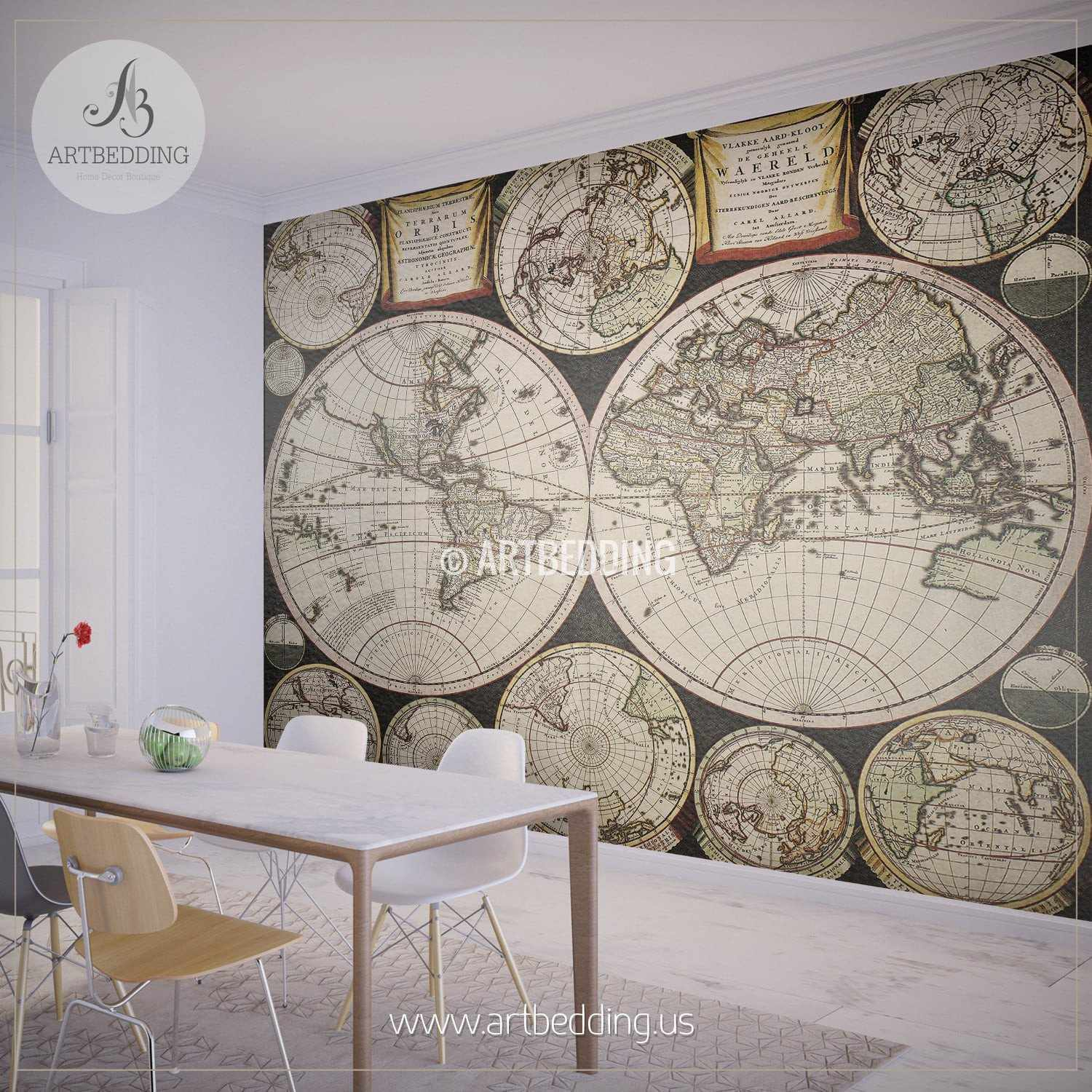 Vintage map wall mural self adhesive photo mural artbedding old double hemisphere world map from 1696 wall mural self adhesive peel stick photo gumiabroncs Image collections