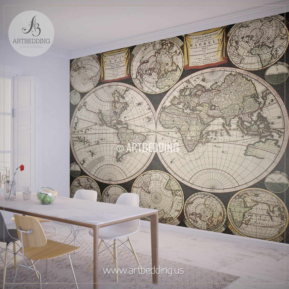 Old Double Hemisphere World Map from 1696 Wall Mural, Self Adhesive Peel & Stick Photo Mural, Atlas wall mural, mural home decor wall mural