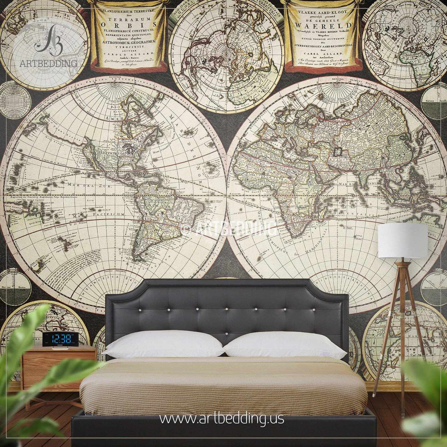 old double hemisphere world map from 1696 wall mural self adhesive peel stick photo