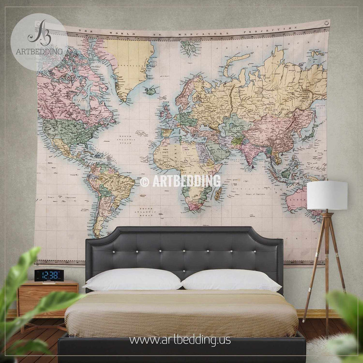 Old hand coloured map of the World wall tapestry, vintage interior map wall hanging, old map wall decor, vintage map wall art print Tapestry