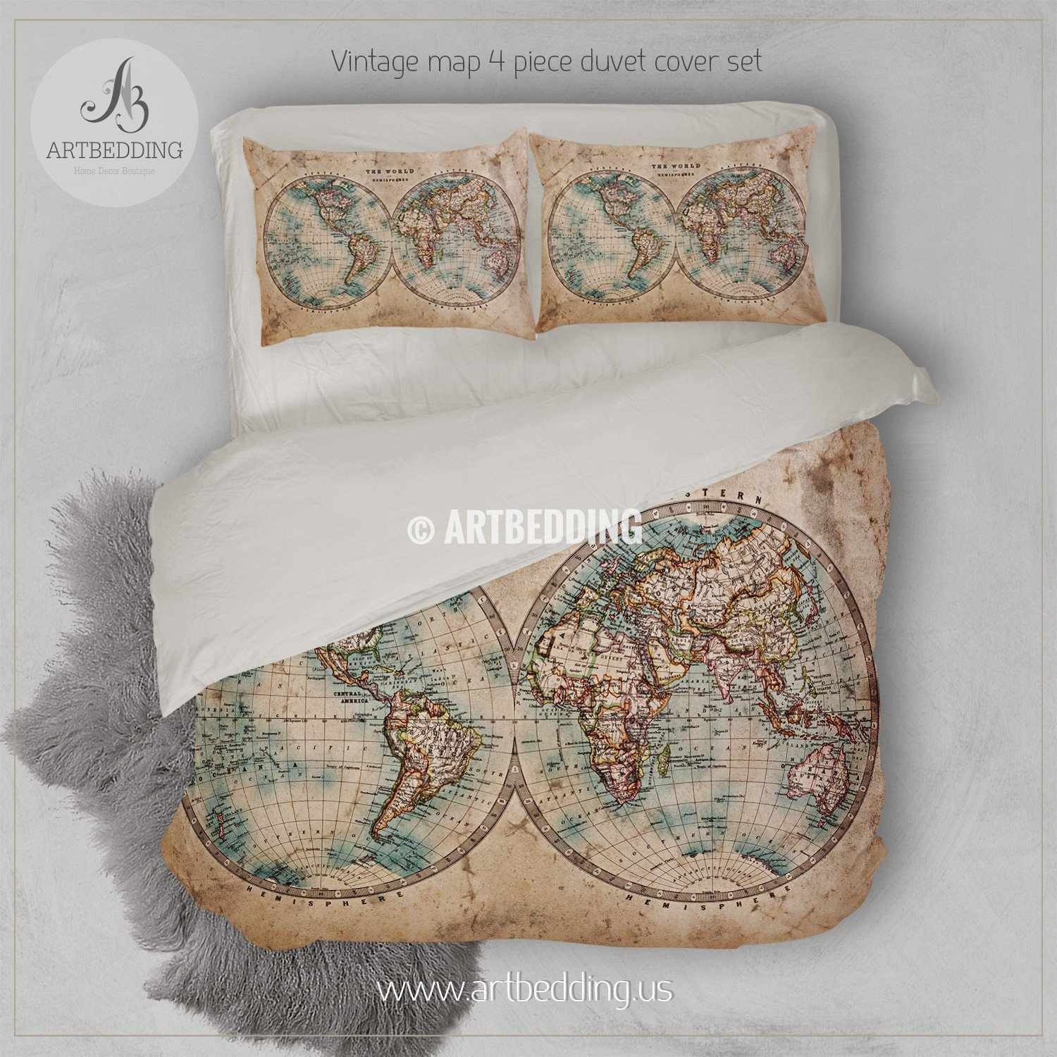 Vintage world map bedding, 1800 Western and Eastern Hemispheres old stained  World map duvet cover set, Antique world map comforter set