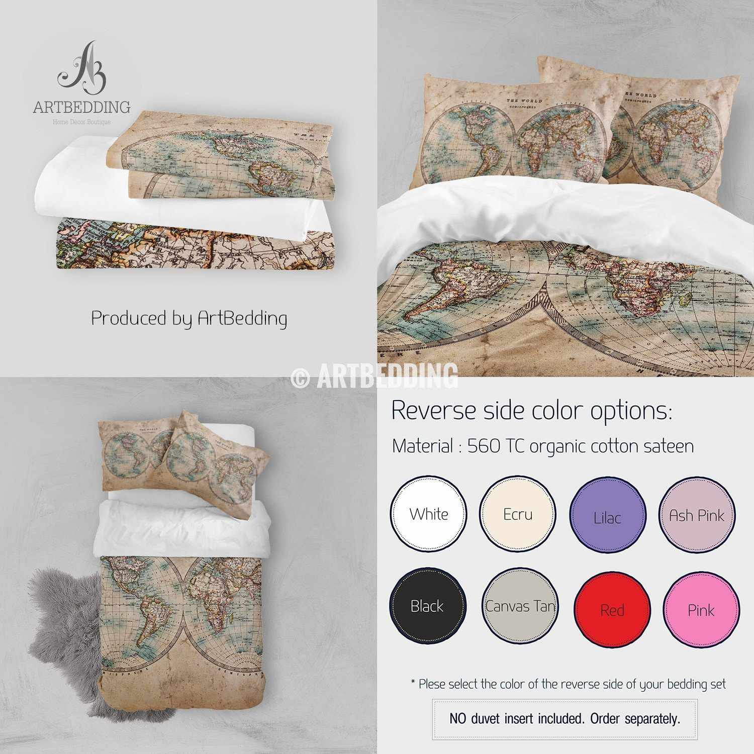 Vintage world map bedding 1800 western and eastern hemispheres old old map bedding vintage old stained world map duvet cover set antique map queen gumiabroncs Image collections