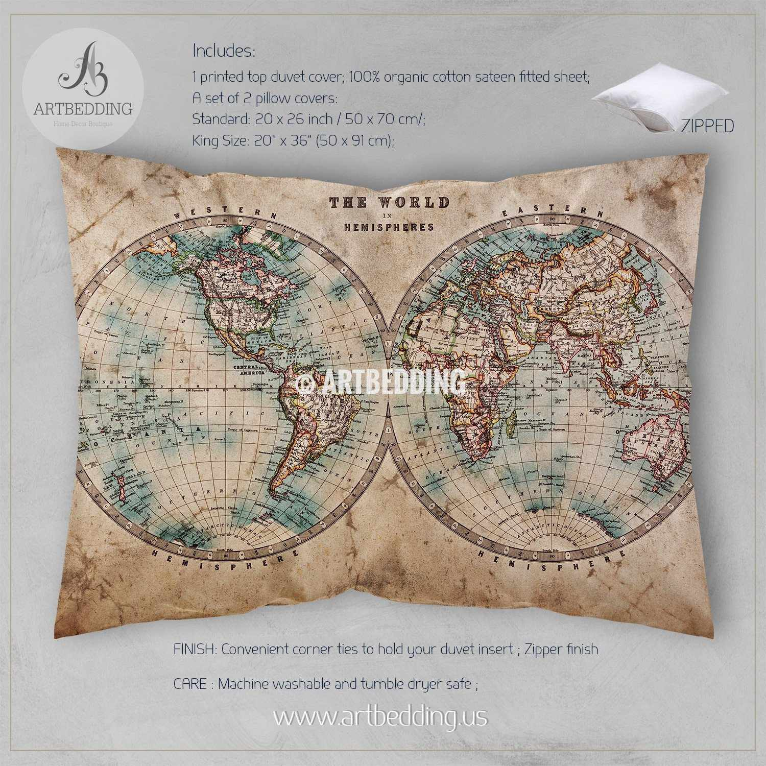 Vintage world map bedding 1800 western and eastern hemispheres old map bedding vintage old stained world map duvet cover set antique map queen gumiabroncs Gallery