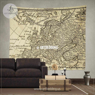 Old map Europe with parallels and meridians wall tapestry, vintage interior map wall hanging, old map wall decor, vintage map wall art print Tapestry