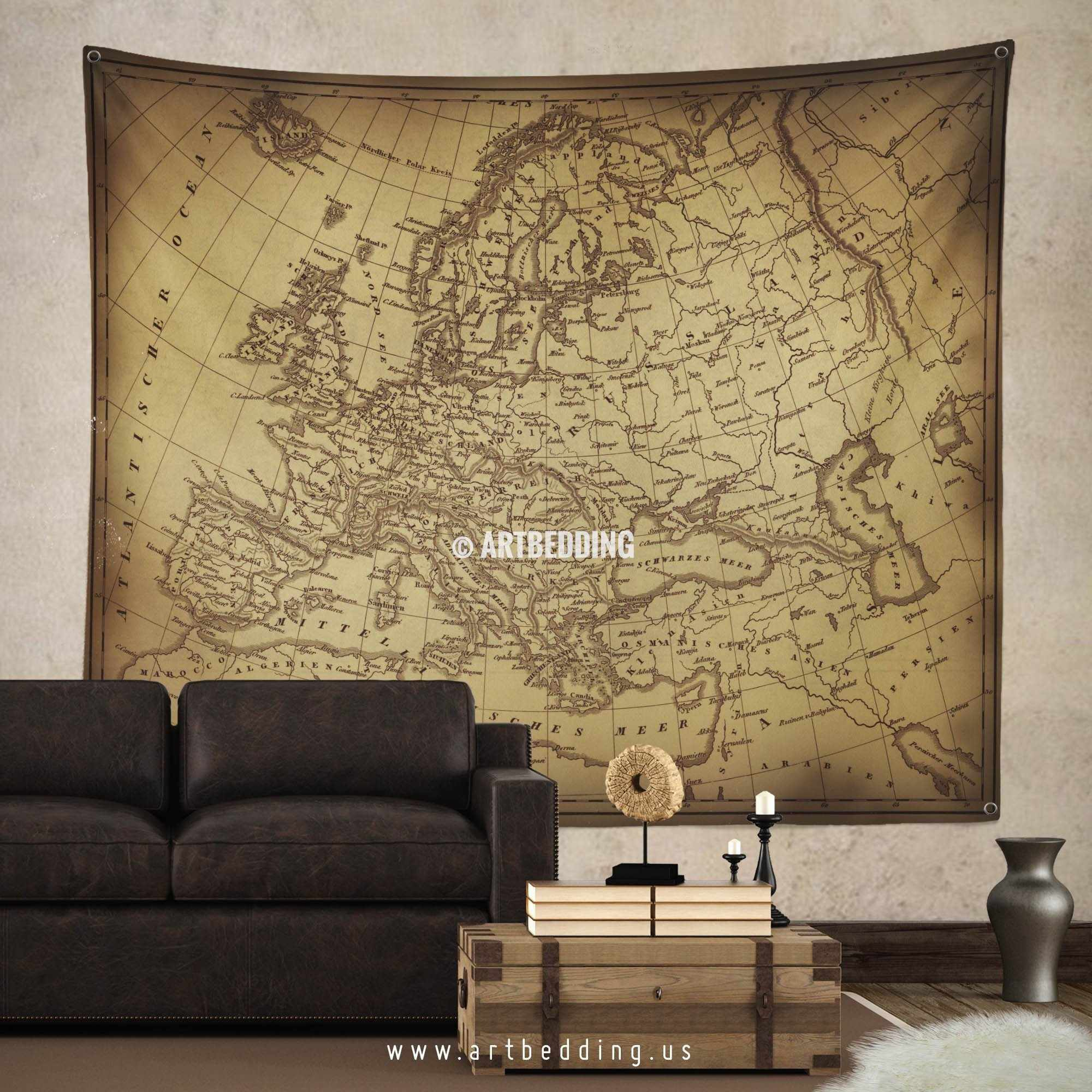 Old map of europe wall tapestry vintage interior world for Interior wall art