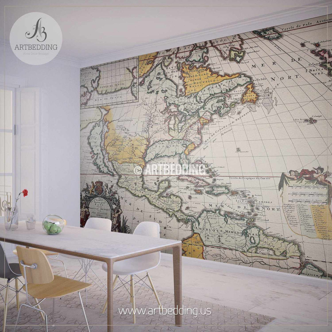 Old North American Map Wall Mural, Self Adhesive Peel & Stick Photo Mural, Atlas wall mural, mural home decor wall mural
