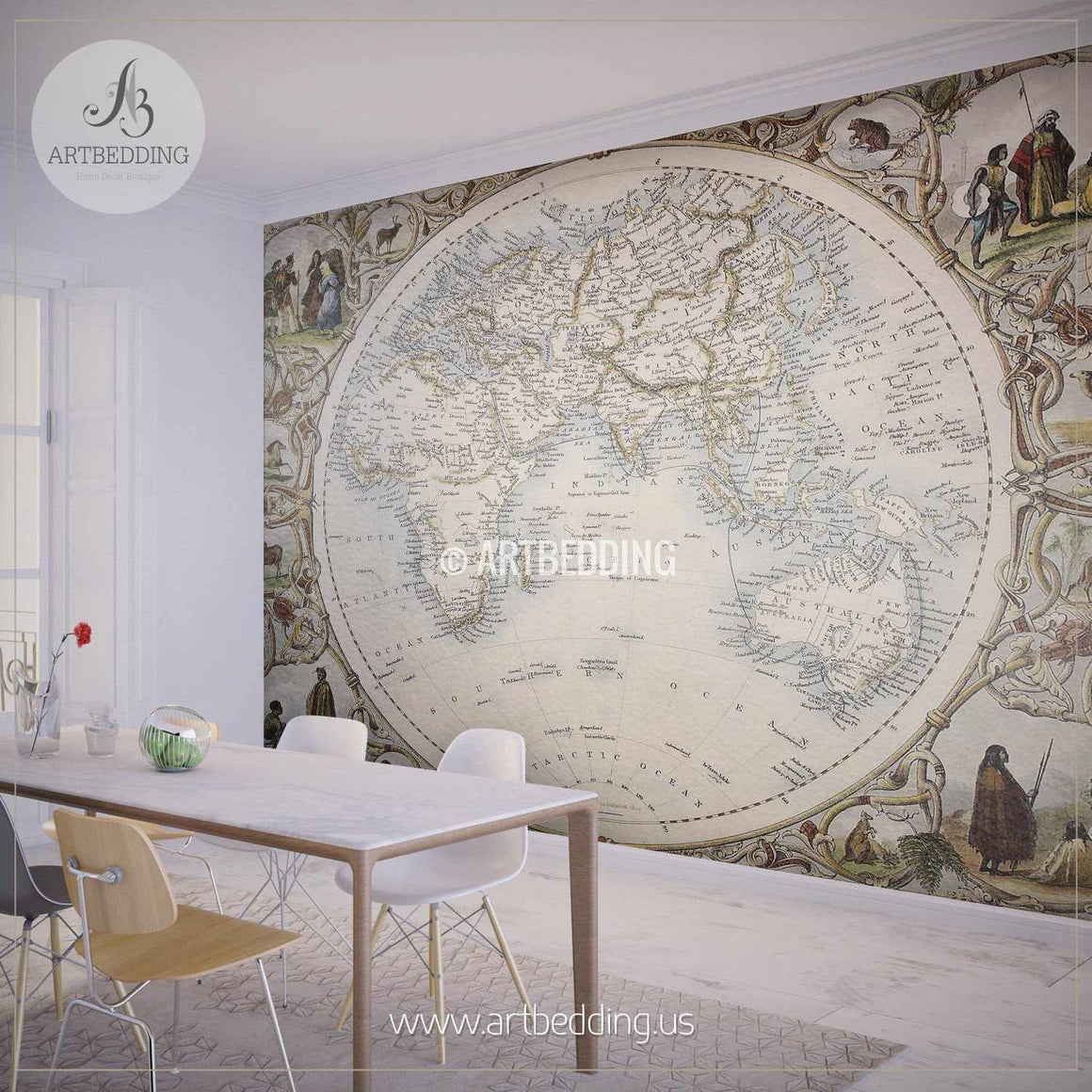 Old Oriental Hemisphere Map (1851) Wall Mural, Self Adhesive Peel & Stick Photo Mural, Atlas wall mural, mural home decor wall mural