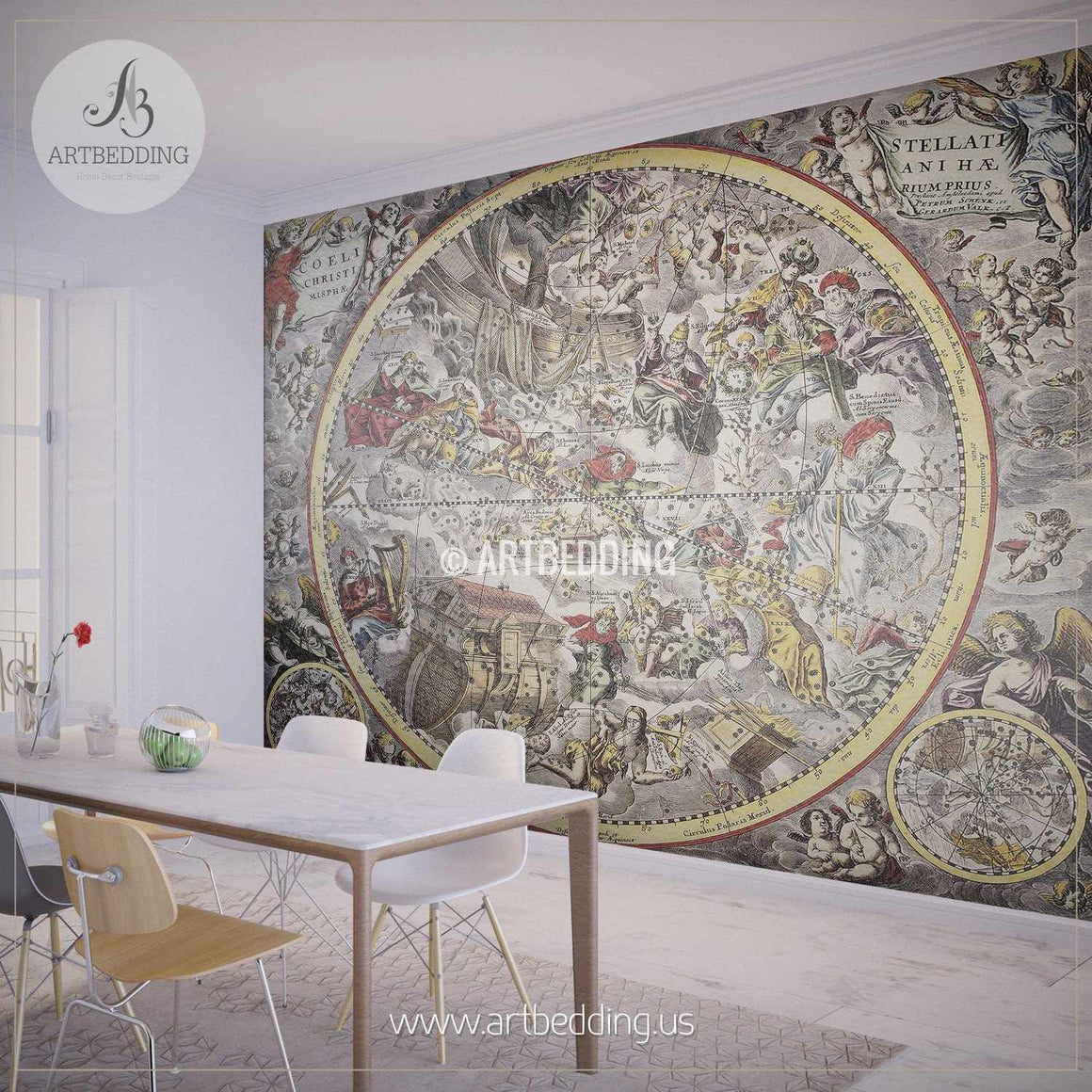 Old Representation of Christian Celestial Hemisphere (1660) Wall Mural, Self Adhesive Peel & Stick Photo Mural, Atlas wall mural, mural home decor wall mural