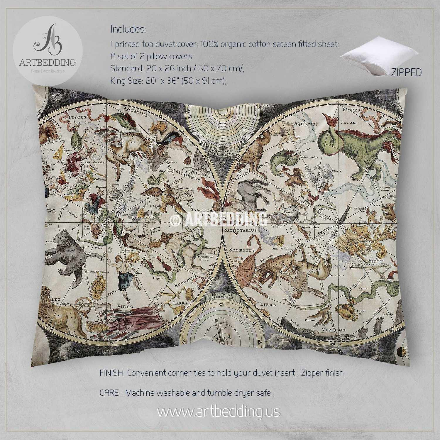 Old Sky Map with Hemispheres Bedding, Constellations and Zodiac signs  (1680) vintage duvet cover set, Antique astrology illustration comforter set