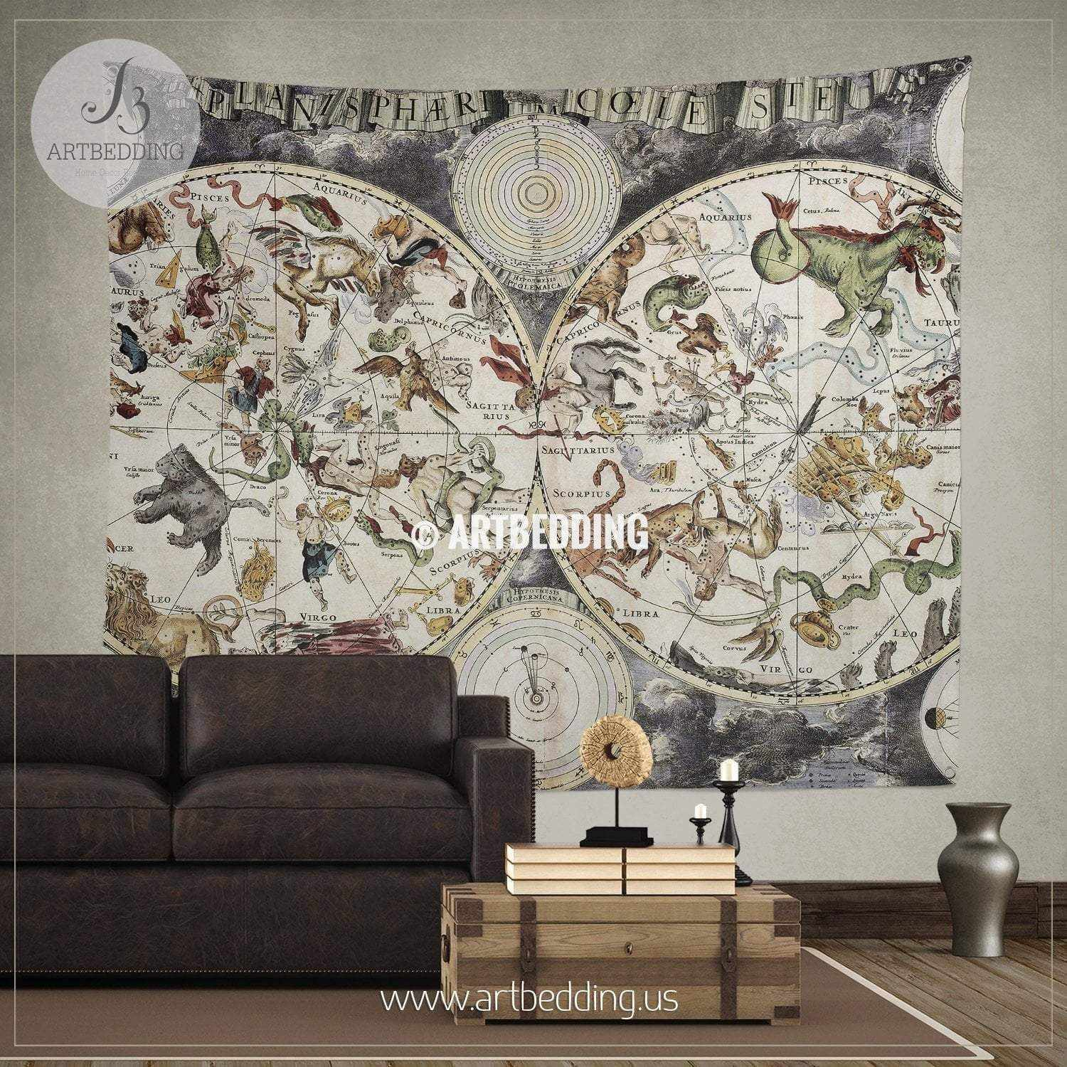 Old Sky Map Depicting Boreal And Austral Hemispheres With Constellations Zodiac Signs Wall Tapestry