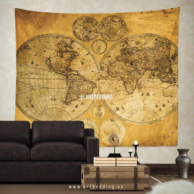 Old two hemispheres world map wall tapestry, vintage interior world map wall hanging, old map wall decor, vintage map wall art print Tapestry
