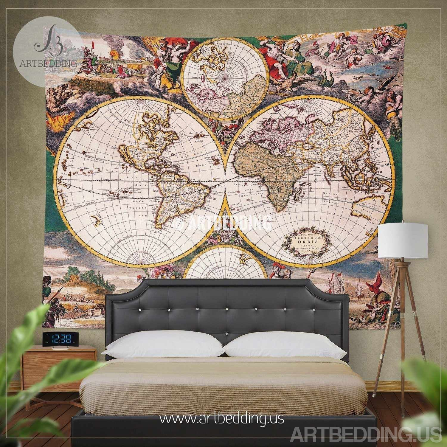 Old world map bedding vintage 18th century hemisphere illustration old world map bedding vintage 18th century hemisphere illustration map duvet cover set colorful gumiabroncs Image collections