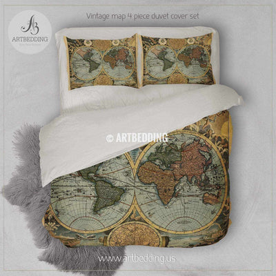 Old World Map Hemisphere bedding, Vintage old map duvet cover set, Antique map comforter set Bedding set