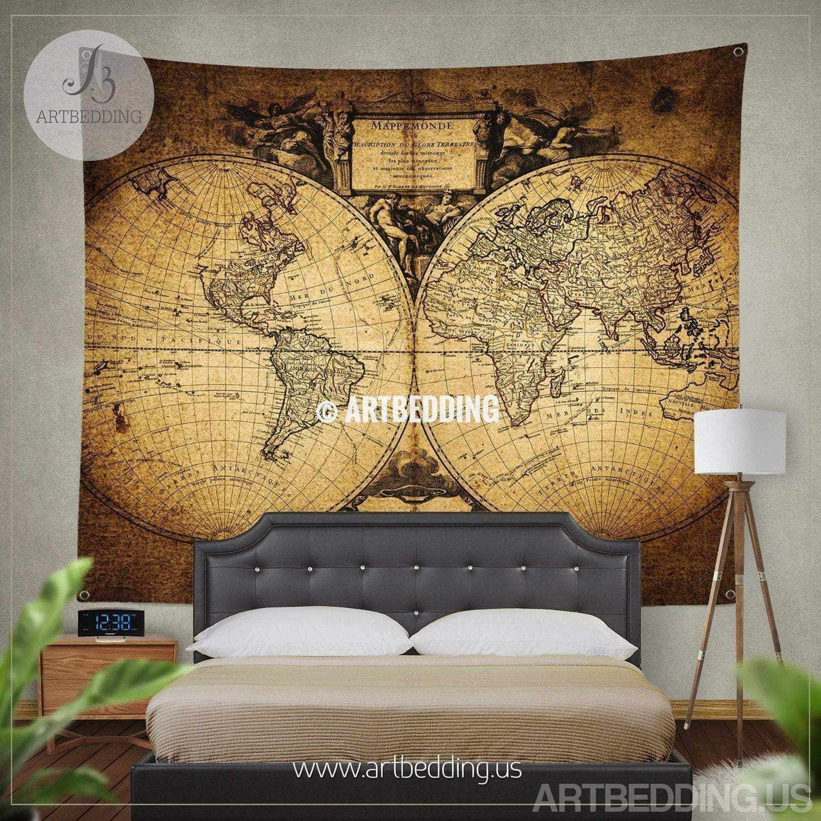 Old world map wall tapestry, Historical world map wall hanging, antique old map wall decor, vintage map wall art print Tapestry