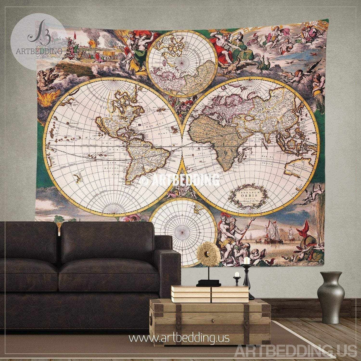 Ancient World Map Wall Tapestry Vintage World Map Wall