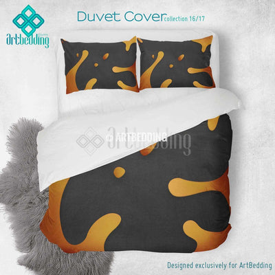 Orange splashes printed Duvet cover, premium orange splashes duvet cover, Cotton sateen duvet cover, grunge art print duvet cover, artbedding duvet cover