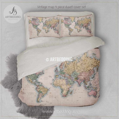 Original old hand coloured map of the World (circa 1860) bedding, Vintage old world map duvet cover set, Antique map comforter set Bedding set
