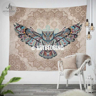 Owl Totem Zentangle Dreamcatcher wall tapestry, Geometry Owl spirit animal wall hanging, Owl boho wall tapestries Tapestry