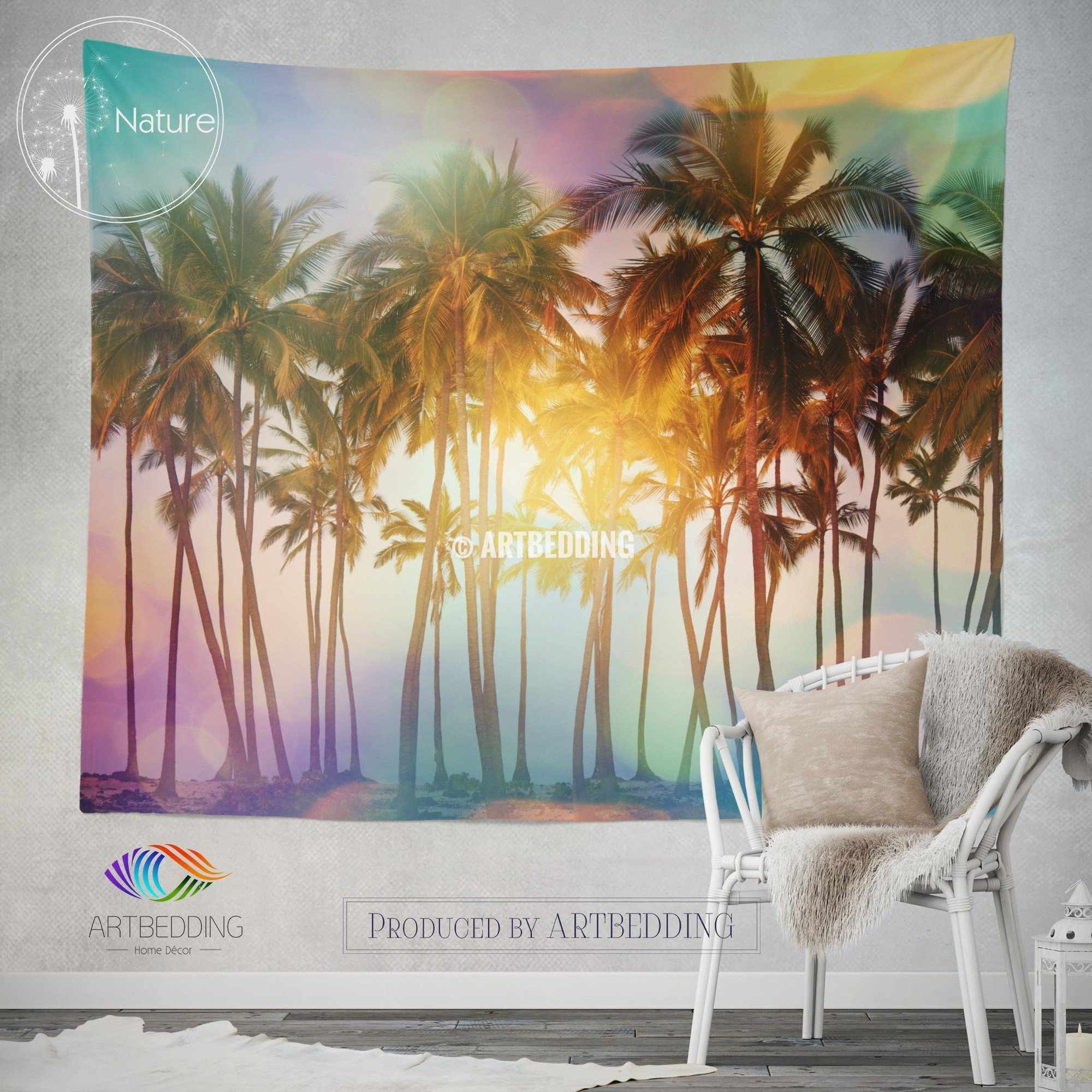 ... Palm Trees Wall Tapestry, Tropical Beach Wall Tapestry, Serenity Beach Wall  Decor, Palm ...