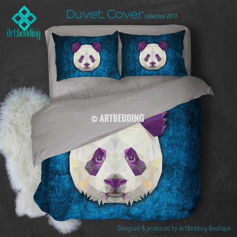 Panda Animal head geometry Duvet cover, Animal totem duvet cover, Panda head animal duvet, custom designer duvet artbedding