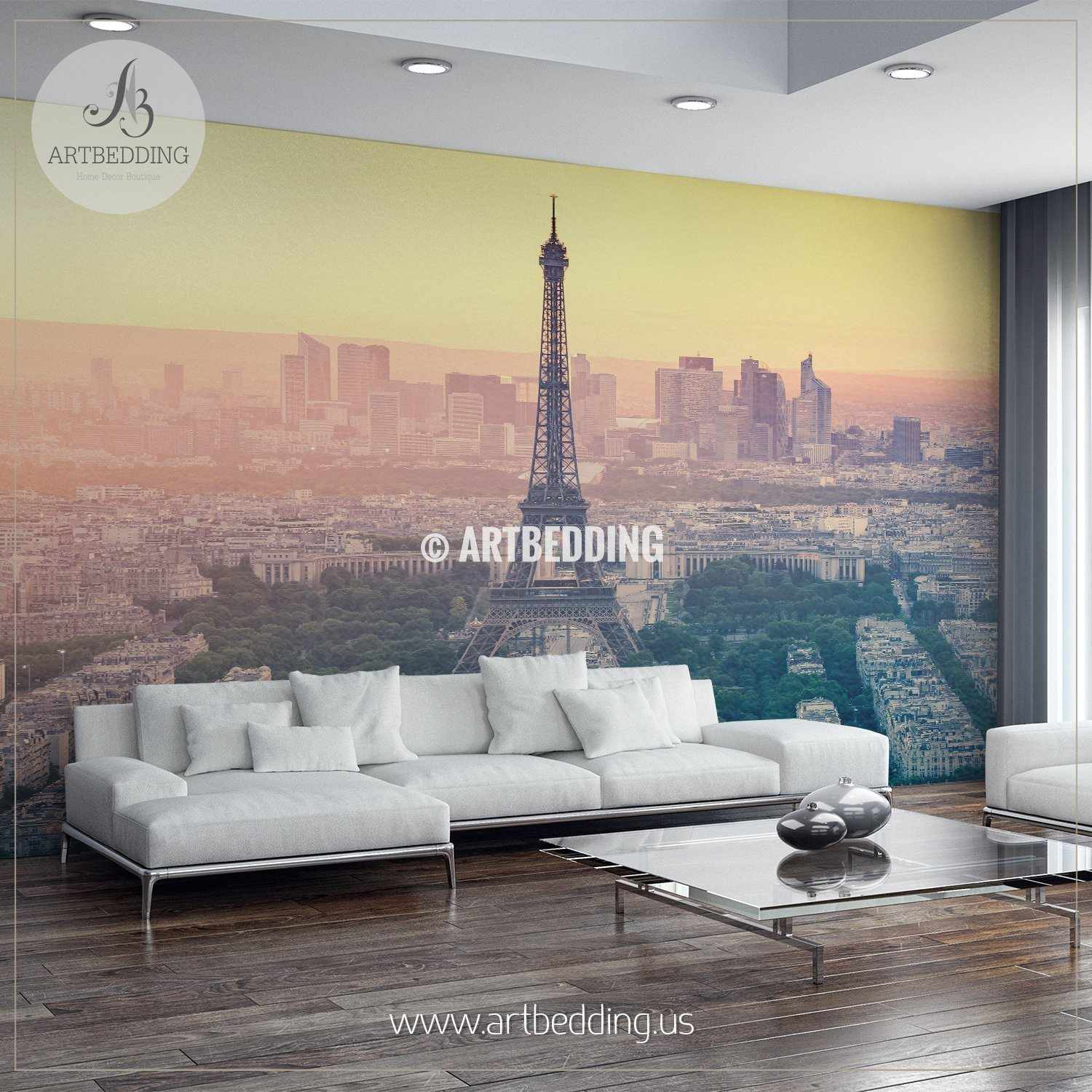 Paris city skyline at sunset with the Eiffel Tower Wall Mural Photo