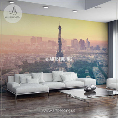 Paris city skyline at sunset with the Eiffel Tower Wall Mural, Photo Mural, wall décor wall mural