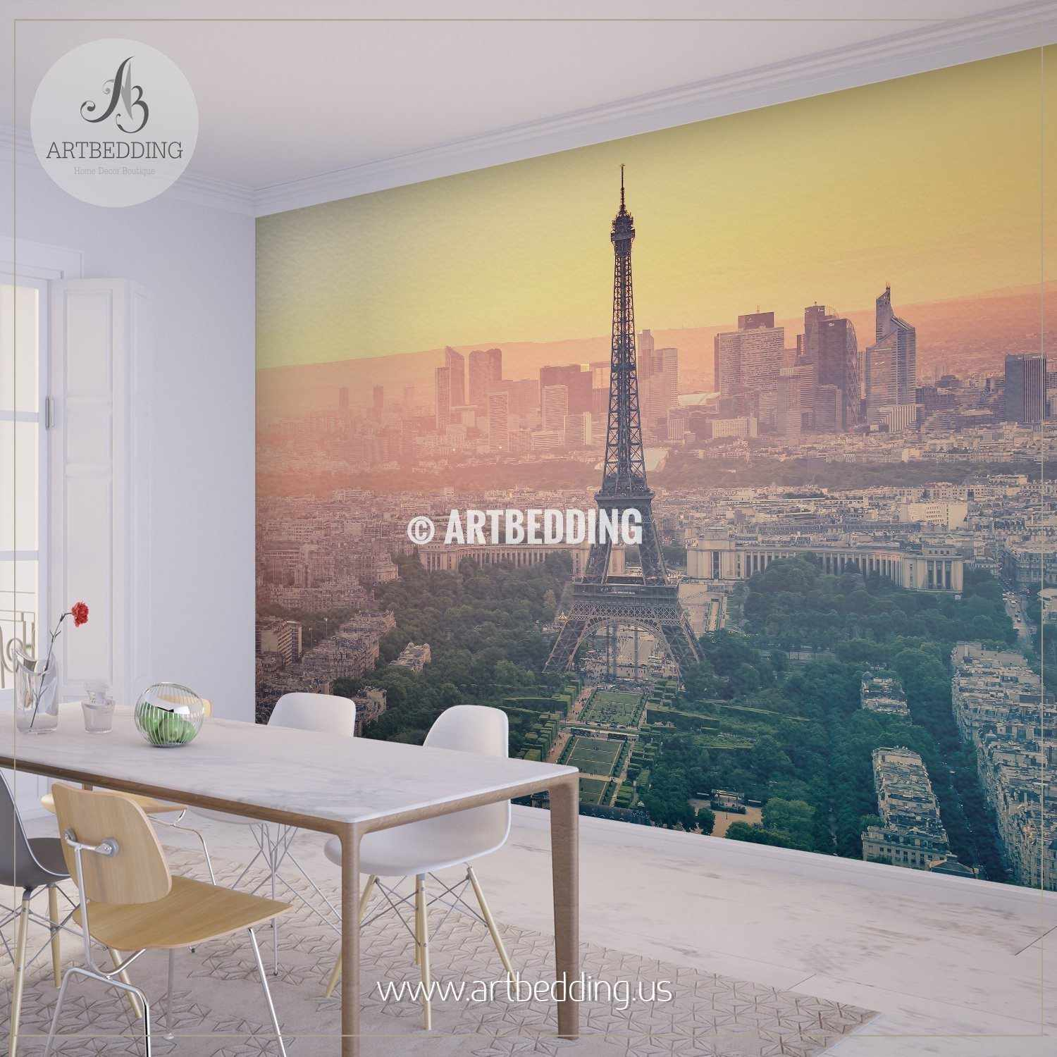 ... Paris City Skyline At Sunset With The Eiffel Tower Wall Mural, Photo  Mural, Wall ... Part 58