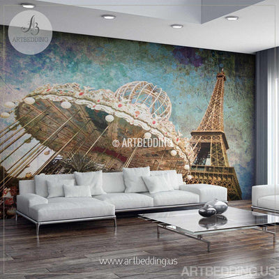 Paris Eifel tower vintage grunge Wall Mural, Paris vintage Photo Mural, Eifel Tower wall decor wall mural