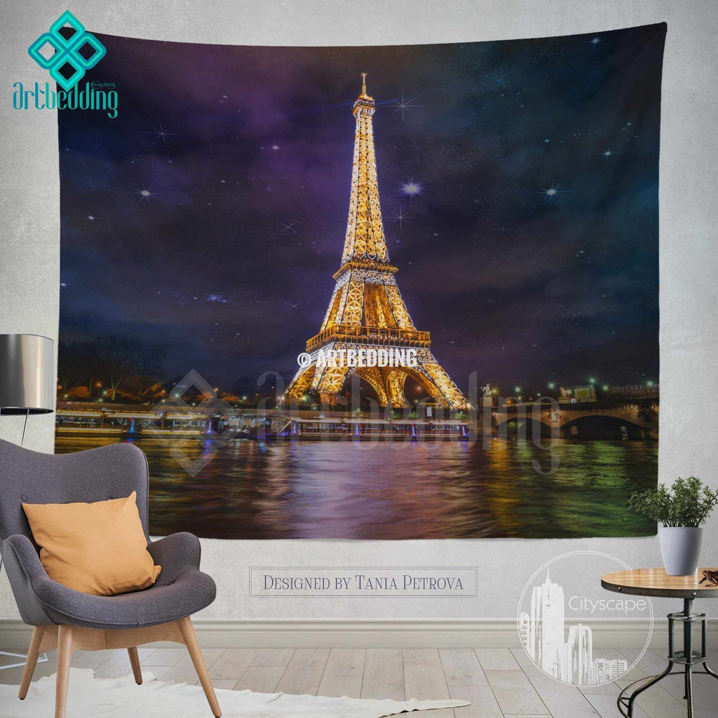 Paris golden lights wall tapestry, Eifel tower at night wall tapestry, Paris wall decor, Cityscape interior, artbedding cityscape wall decor