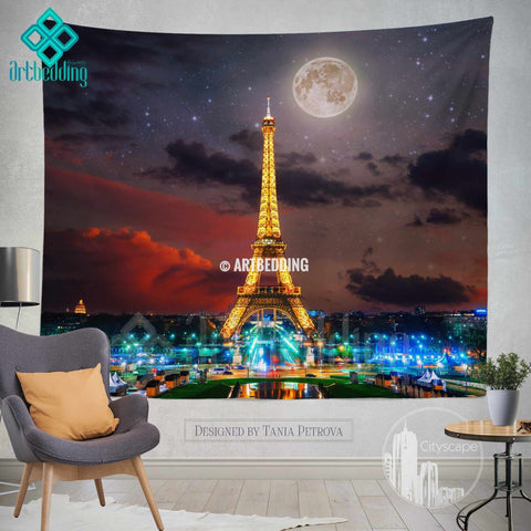 Paris night sky with fool moon wall tapestry, Eifel tower at night with stars wall tapestry, Paris golden lights wall decor, Paris Cityscape interior, artbedding cityscape wall decor