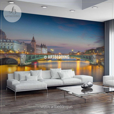 Paris Riverside during Twilight Blue Hour Wall Mural, Landmarks Photo Mural, Cityscape photo mural wall mural